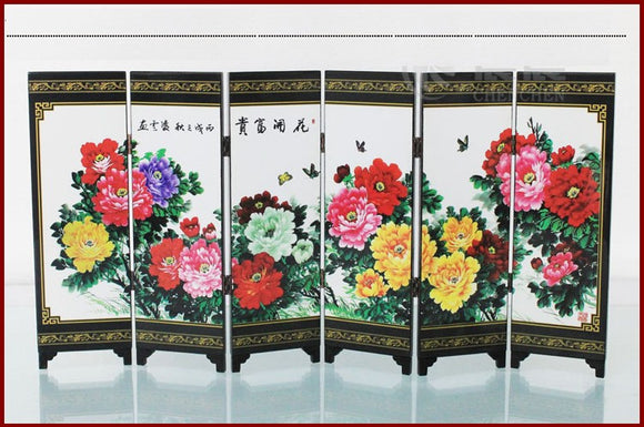 TNUKK  ( Mini ) Exquisite Chinese Classical Lacquer Painting Folding Screen of Beautiful Blooming Peony Flowers - Lucky Mouse Chinese Gifts