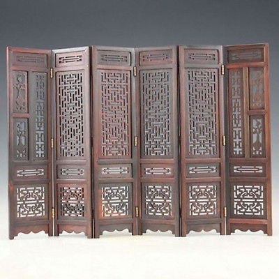 TNUKK  Hand-carved Chinese Boxwood & Sculpture Folding Screen - Lucky Mouse Chinese Gifts