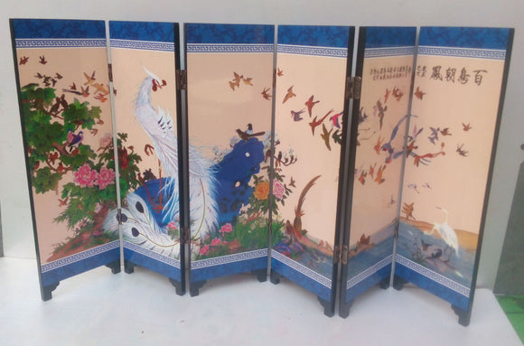 TNUKK  Delicate Chinese lacquer painting by hand *Birds Pay Homage *decorated fold screen. - Lucky Mouse Chinese Gifts