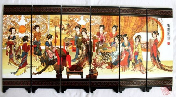 TNUKK  ( Mini ) Exquisite Chinese collection Lacquer ware painting beautiful Belles folding screen - Lucky Mouse Chinese Gifts