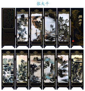 Office Table MINI Folding Screens 6 Joined Panels Decorative Painting Wood Byobu Zhang Daqian Outlined Landscape - Lucky Mouse Chinese Gifts