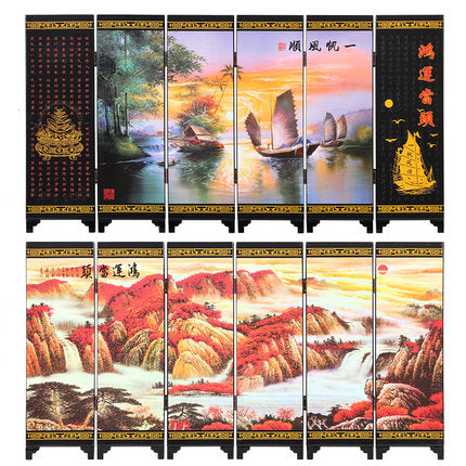 Office Table MINI Folding Screens 6 Joined Panels Decorative Painting Wood Byobu Opportunity Knocks Lucky Strike - Lucky Mouse Chinese Gifts