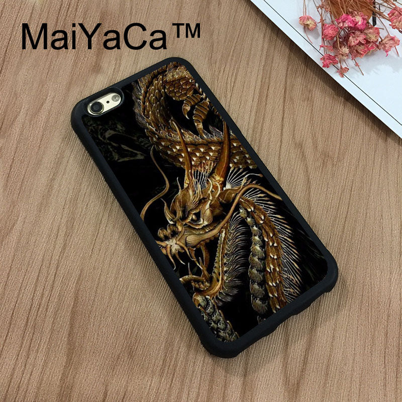 e26bfd53d2 MaiYaCa Gold Dragon Phone Cases For Apple iPhone 8 Coque Case Rubber Soft  TPU Drawing Phone Case Back Cover