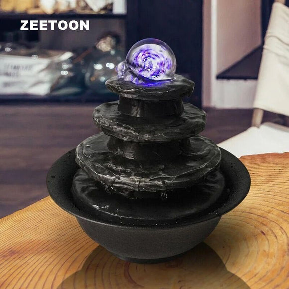 LED Crystal Ball Mini Water Features Fountain Waterfall Air Humidifier Feng Shui Tabletop Decor Creative Lucky Home Ornaments - Lucky Mouse Chinese Gifts