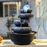 LED Mini Water Fountain Feng Shui Lucky Crystal Ball Vintage Business Tabletop Ornaments Air Humidifier Living Room Home Decor - Lucky Mouse Chinese Gifts
