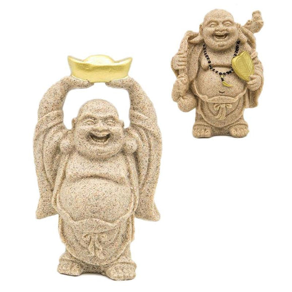 Sand Stone Maitreya Happy Smile Buddha Statue Hand Carved Wealth Artist Luck en gift, Ornament, buddha figrue, figurine, arts 3