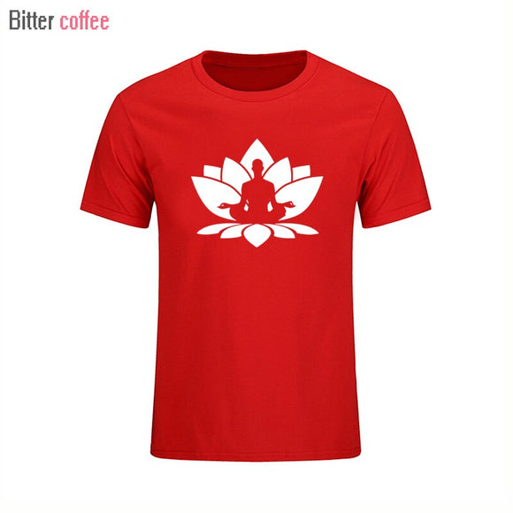 New Lotus Flower Seated Buddha T Shirts Men Cotton Short Sleeve Funny Print Man T-Shirt Free Shipping Mens tshirt Tops
