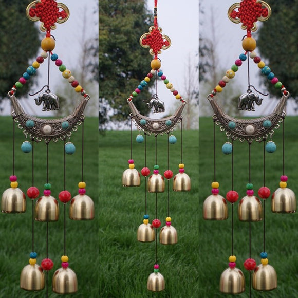 Lucky Elephant Wind Chimes Outdoor Windbell Copper 6 Bells Chinese Knot Beads Christmas Living Yard Garden Decor