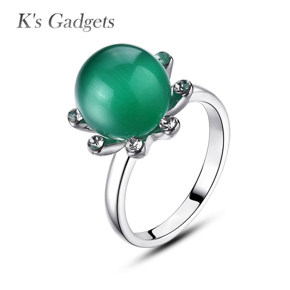 K's Gadgets Opal Rings Classic Green Moon Stone Natural stone Ring White Zircon Anneau De Pierre Opal  Ball Ring For Women