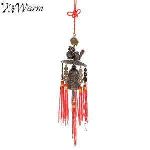 Vintage Chinese Traditional Dragons Coins Feng Shui Wind Chime Bell With Tassels for Good Luck Fortune Home Car Hanging Decor