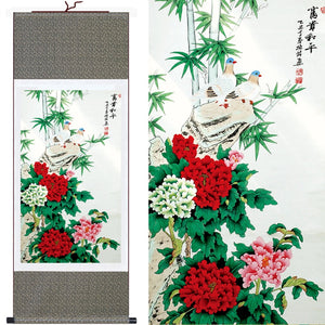 Hot Sale! Beautiful Flower Wall Paintings Peony/Bamboo/Pigeon Traditional Chinese Painting Art Home Decor Picture Silk Scroll - Lucky Mouse Chinese Gifts