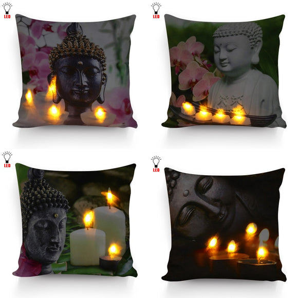 Hight Quality Led Cushion cover Buddha with flicking candles flowers Pillow battery open for home decorative 17x17inch - Lucky Mouse Chinese Gifts