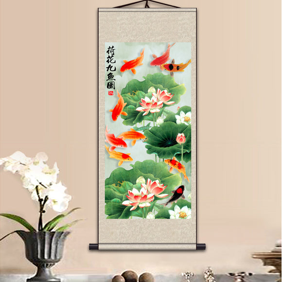 Silk painting gift / Lotus Nine fish Figure / Figure silk scroll painting lotus / Interior painting / Chinese Painting