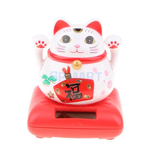 Japanese Good Fortune Solar Cat Lucky Toy Waving Arm Cat Ornament Countertop Desk Top
