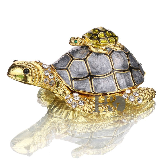 H&D 3inch Turtle Trinket Jewelry Box with Sparkling Crystals,Hinged Trinket Box Hand-painted Figurine Collectible Ring Holder - Lucky Mouse Chinese Gifts