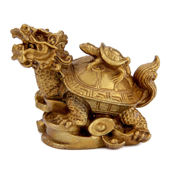 New Brass Feng Shui Dragon Turtle Tortoise Statue Coin Money Wealth Luck Figurine - Lucky Mouse Chinese Gifts