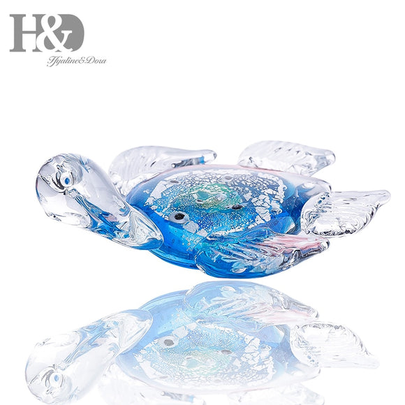 H&D 5.1''Handmade Mini Ocean Blue Glass Sea Turtle Art Glass Blown Sea Animal Figurine Unique Birthday/Chrismas Gifts Home Decor - Lucky Mouse Chinese Gifts