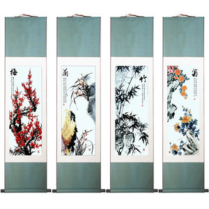 High Quality Chinese Art Painting Merlin, Bamboo and Chrysanthemum 4 Panel Set Abstract Art Painting 105cm*30cm - Lucky Mouse Chinese Gifts