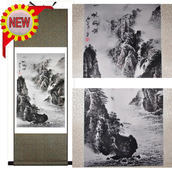 Hot Sell Chinese Traditional Painting Wall Picture Silk Hanging Scroll:High Mountain Landscape For Home Decoration,2 Size Choose - Lucky Mouse Chinese Gifts
