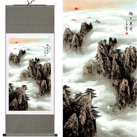 Hot Sell! Classical Abstract Landscape Painting Clouds On Mountain Wall Picture Living Room Decorative Silk Scroll Wall Art - Lucky Mouse Chinese Gifts