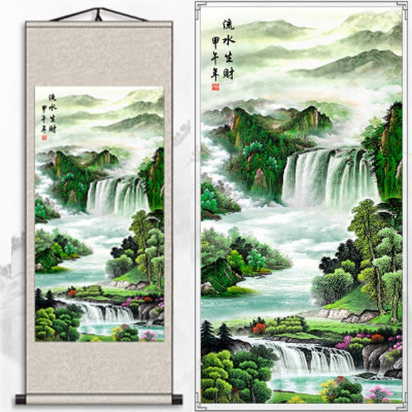Silk painting gift / Lotus Nine fish Figure / Figure silk scroll painting lotus / Interior painting / Chinese Painting scenery03