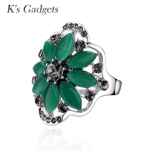 K's Gadgets Green Opal Ring Silver Color Bague Argent Rings For Women Green Natural Stone Charm Zirconia Ring Flower Opal Ring