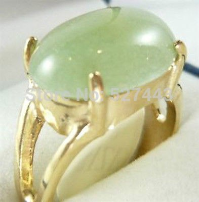 Wholesale FREE SHIPP >bBeautiful gold plate light green stone ring size 7 8 9 # - Lucky Mouse Chinese Gifts