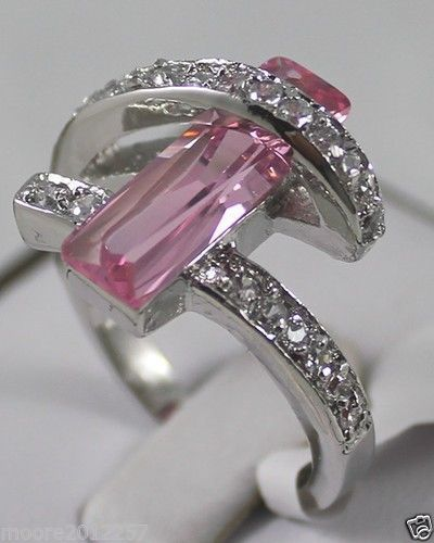 Jewelry pink Crystal Ring Size :7 8