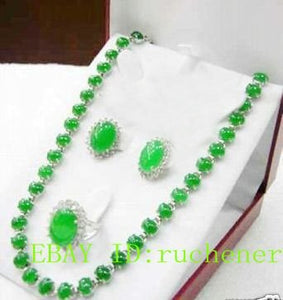 Hot sale@> hot! Noblest green stone Necklace Ring Earring sets Natural jewelry - Lucky Mouse Chinese Gifts