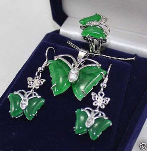 Hot sale new Style >>>>>New Jewelry 18KGP butterfly green stone pendant Necklace earrings ring Set - Lucky Mouse Chinese Gifts