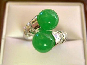 Hot sale new Style >>>> Beautiful Tibet silver natural green stone ring size 7-9 - Lucky Mouse Chinese Gifts