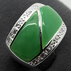 Hot sale new Style >>>>Jewelry Ring Inlay Green stone 925 Sterling Silver Ring Size 7/8/9/6 - Lucky Mouse Chinese Gifts