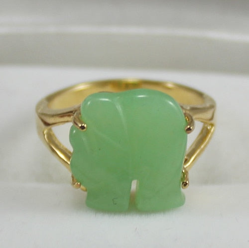 Noble! Yellow GP elephant Shaped Green Jades Jewelry women's Ring - Lucky Mouse Chinese Gifts