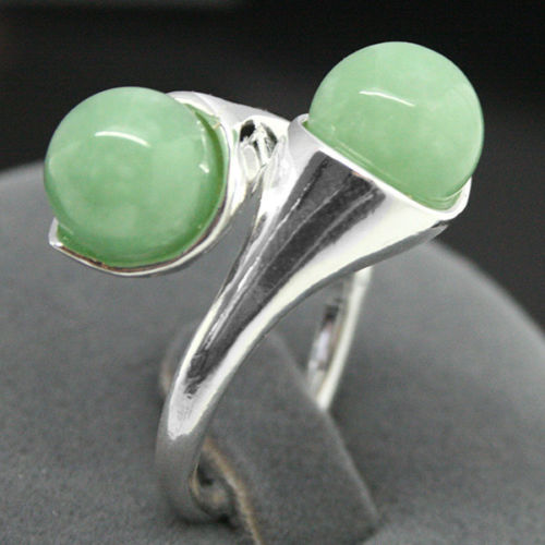 New Design two 8mm Blue Light Green Jades bead 925 Sterling Silver Ring 7/8/9/10 - Lucky Mouse Chinese Gifts