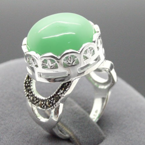 NATURAL GREEN JADES SILVER RING FASHION JEWEL SIZE 7 8 9 10 - Lucky Mouse Chinese Gifts
