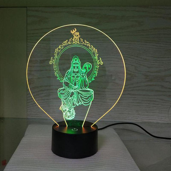 New Led Buddha Guanyin 3d Desk Lamps Luminaria De Mesa Table Moderne Table Lamp For Bedroom - Lucky Mouse Chinese Gifts