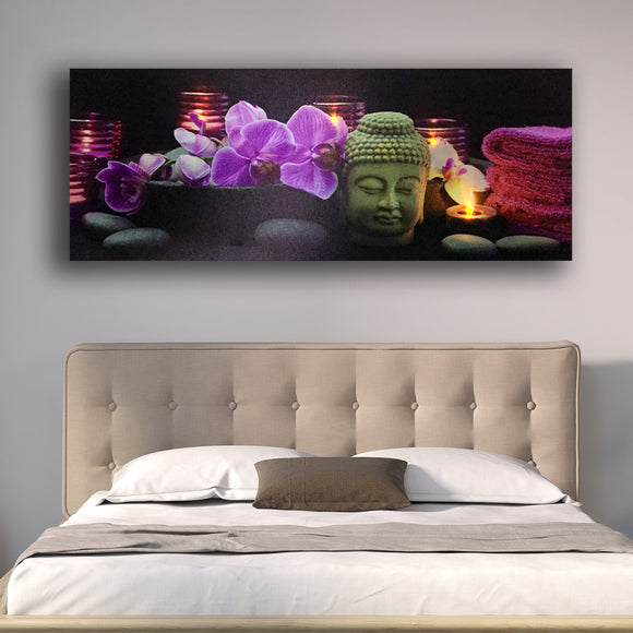 Led wall picture orchids with tealight candles buddha head canvas art light up decor HD painting artwork printed framed big size