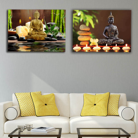Led canvas prints zen canvas wall art buddha with green bamboo pictures spa stone modern artwork stretched and framed