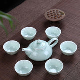 Longquan Celadon fish tea set ceramic teapot kettle ceramic tea cup fish chinese kung fu tea set drinkware 1pot+6cups