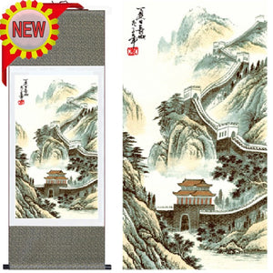 Traditional Chinese Landscape Wall Art Picture Paintings:The Great Wall,Silk Hanging Scroll Painting&Calligraphy Home Decor