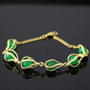 "Newly green jades stone chalcedony gold-color teardrop beads new arrival fashion charms bracelet jewelry 7.5""B1166"