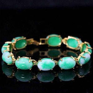 "Semi-precious oval green jades chalcedony stone gold-color chain bracelet weddings anniversary gift jewelry 7.5""B1167"
