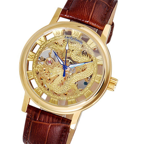 G8110 Unisex Dragon Pattern Cut-out Manual Wind Analog Mechanical Mens Watches with Faux Leather Strap Siver Gold Wristwatches - Lucky Mouse Chinese Gifts