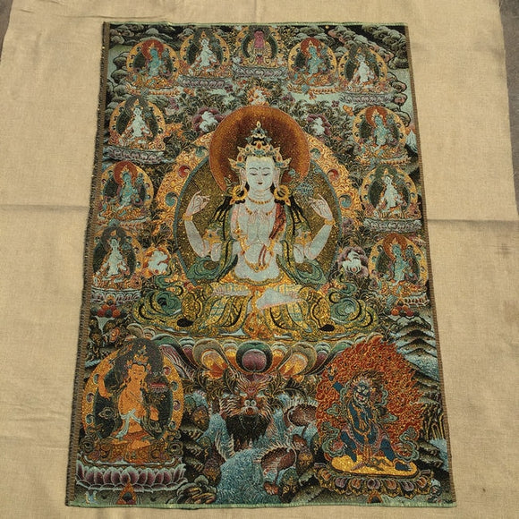 Thangka Brocade painting Silk embroidery Embroidery Buddha Gold silk weave White Tara
