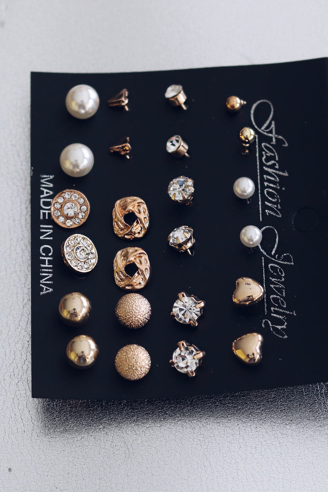 12 Pair Gold Earring Set