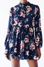 Blue Long Sleeve Floral Dress