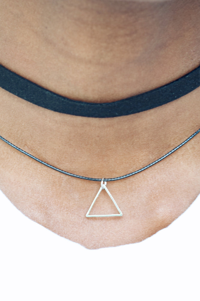 Double String Choker With Triangle Pendant