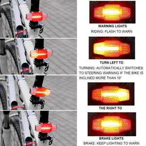 HangRui Bike Tail Light, Smart Steering Brake Bike Light, USB Rechargeable Rear Bicycle Light Induction Brake Rear Light, Bike Warning Taillights Turn Signal Waterproof Bike Lights