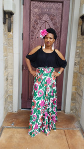 Wrap Skirt w/green florals