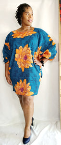 Turquoise and Orange Floral Apuk